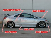 GT-I Series wide body kit For Honda Civic 2006-2008 Coupe