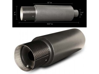 "Universal Black Muffler - 4"" Carbon Tip /  2.5"" Inlet"