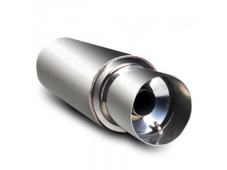 "Universal Stainless Steel Muffler - 4"" Stainless Steel Tip / 2.5"" Inlet"