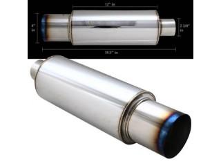 """Universal Stainless Steel Muffler - 4"""" Stainless Steel Tip Burnt Look / 2.5"""" Inlet (N1 Style)"""
