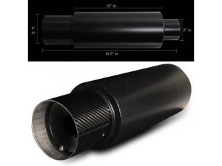 "Universal Black Muffler - 4.0"" Carbon Tip / 3.0"" Inlet"