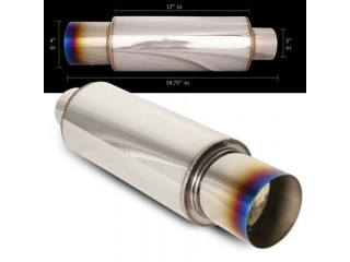 "Universal Stainless Steel Muffler - 4"" Stainless Steel Tip Burnt Look / 3"" Inlet (N1 Style)"