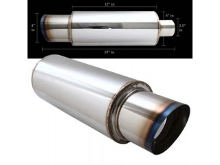 "Universal Stainless Steel Muffler - 4"" Stainless Steel Tip Slant Cut / 2.5"" Inlet"