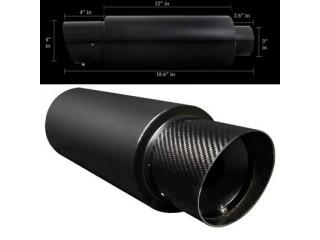 "Universal Black Muffler - 4.0"" Carbon Steel Tip Slant Cut / 3.0"" Inlet"