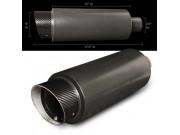 "Universal Black Muffler - 4"" Carbon Fiber Tip Slant Cut / 2.5"" Inlet"
