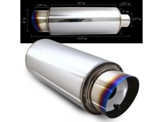 "Universal Stainless Steel Muffler - 4"" Stainless Steel Tip Slant Cut / 2.5"" Inlet"