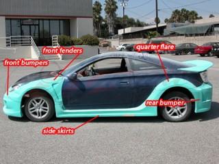 K1 Series wide body kit For Toyota Celica 2000-2005
