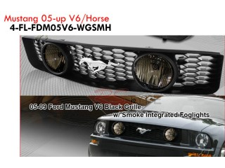 Front Grille With Foglight For Ford Mustang V6 2005-2009 With Horse Emblem